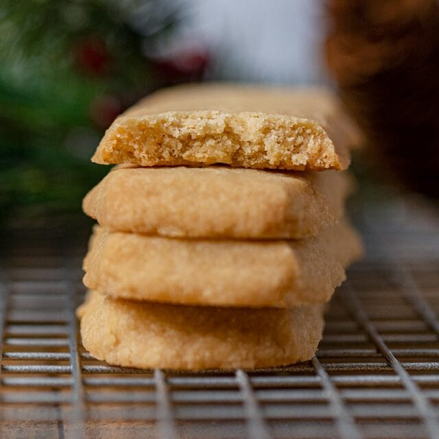 Scottish Shortbread Cookies in stack on cooling rack
