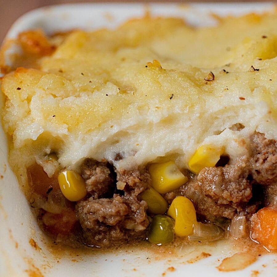 cross-section of Beef Shepherd's Pie in baking dish