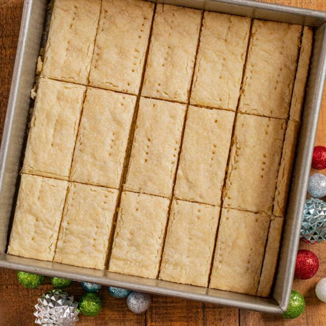 Shortbread Cookies in baking pan, sliced