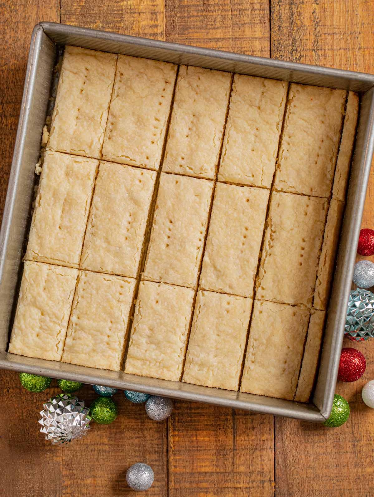 Shortbread Cookies in baking pan, sliced