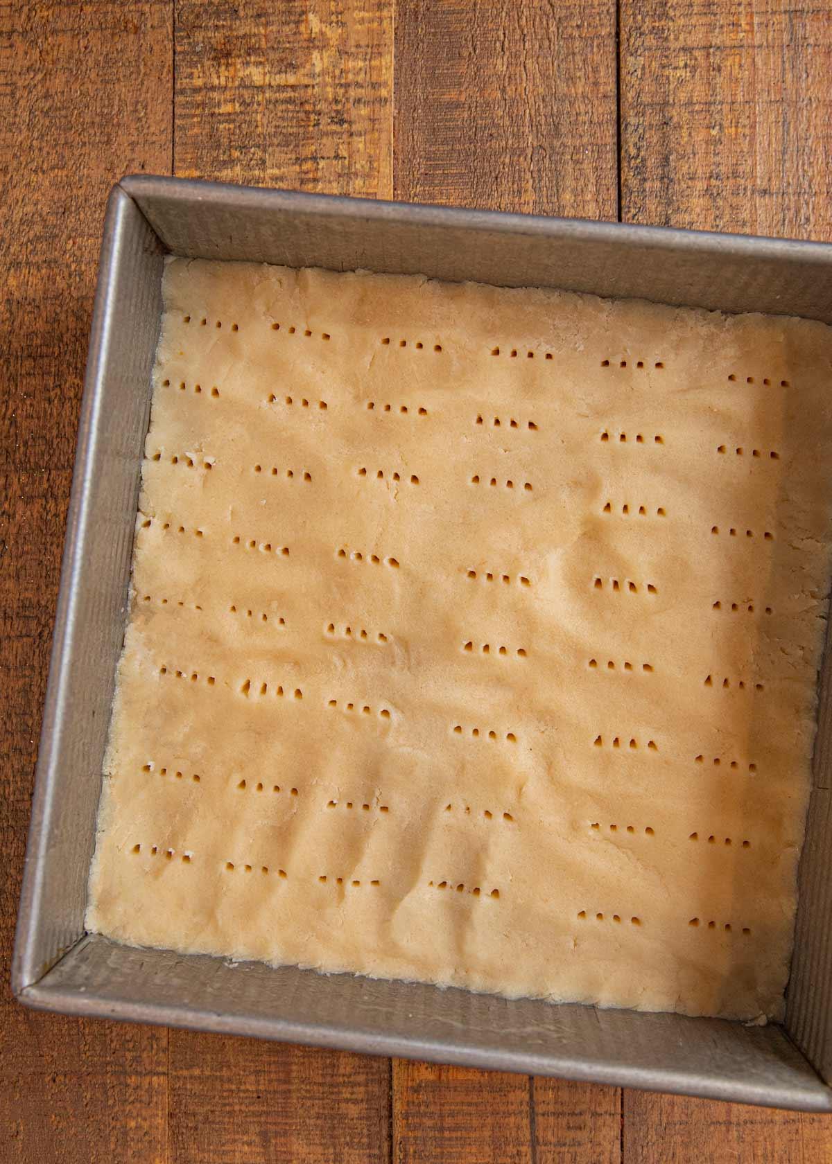 Shortbread Cookies in baking pan before baking