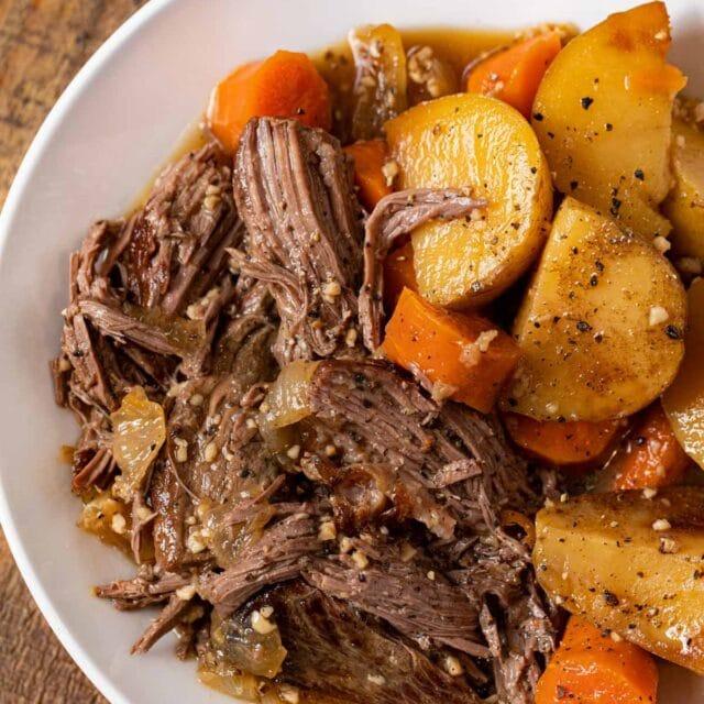 Slow Cooker Rump Roast serving on plate