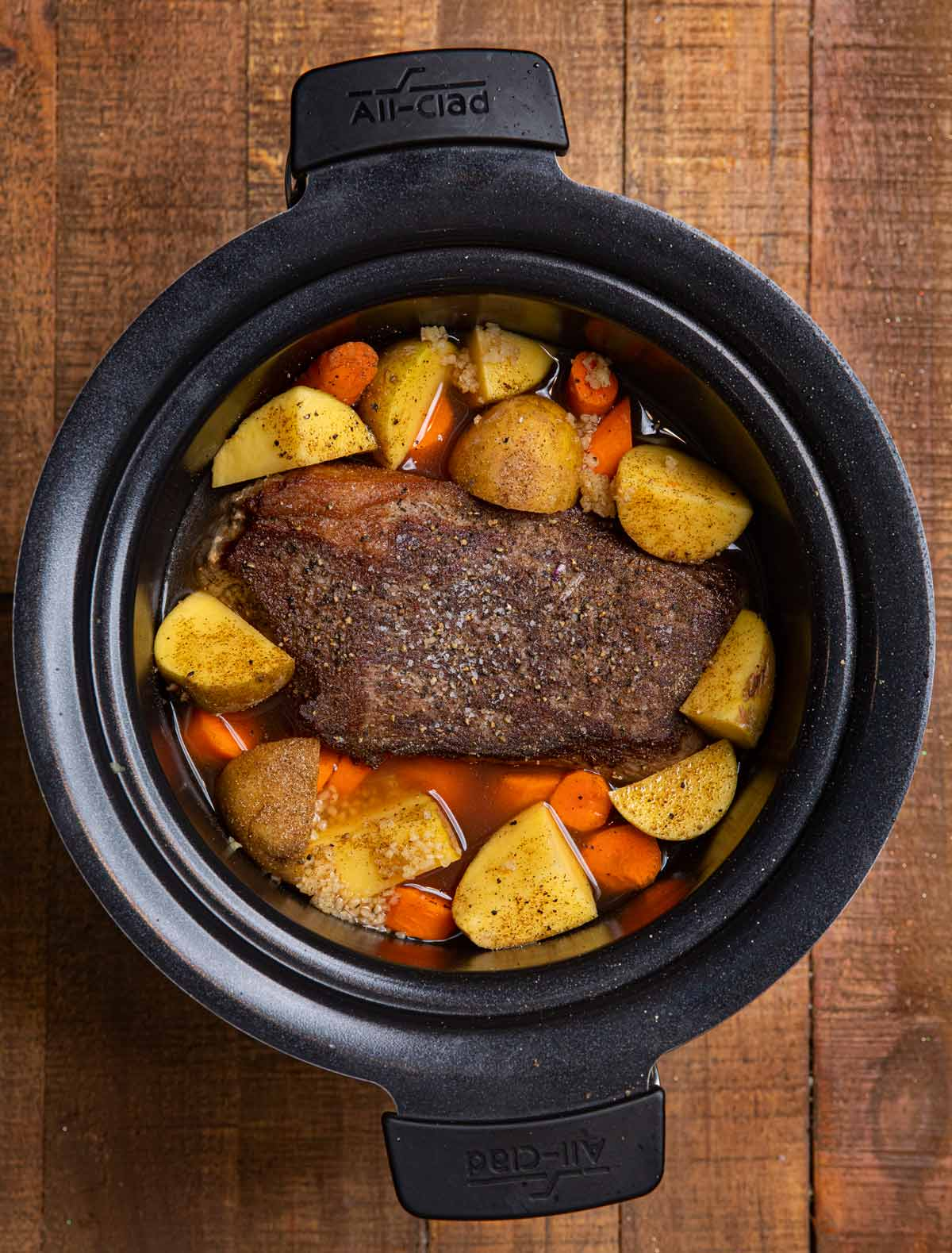 Slow Cooker Rump Roast in crock pot before cooking