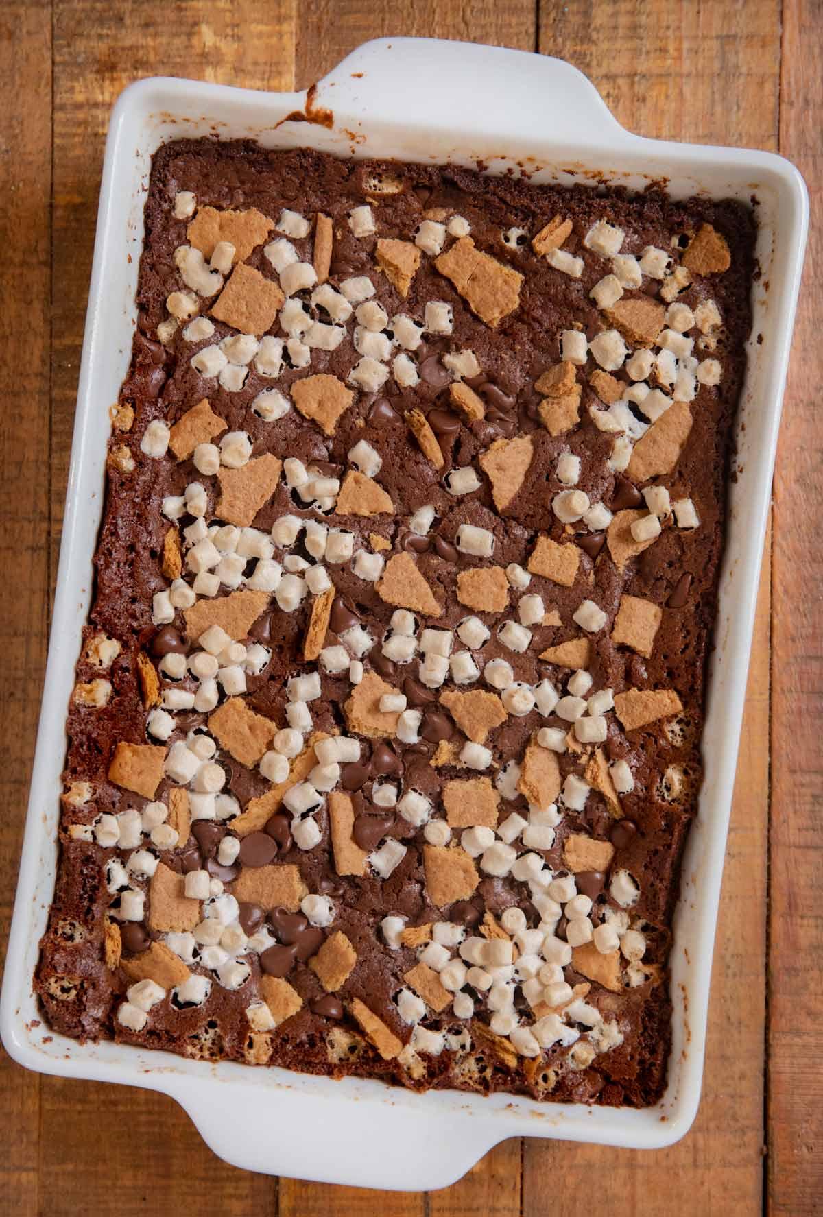 S'mores Brownies in baking pan