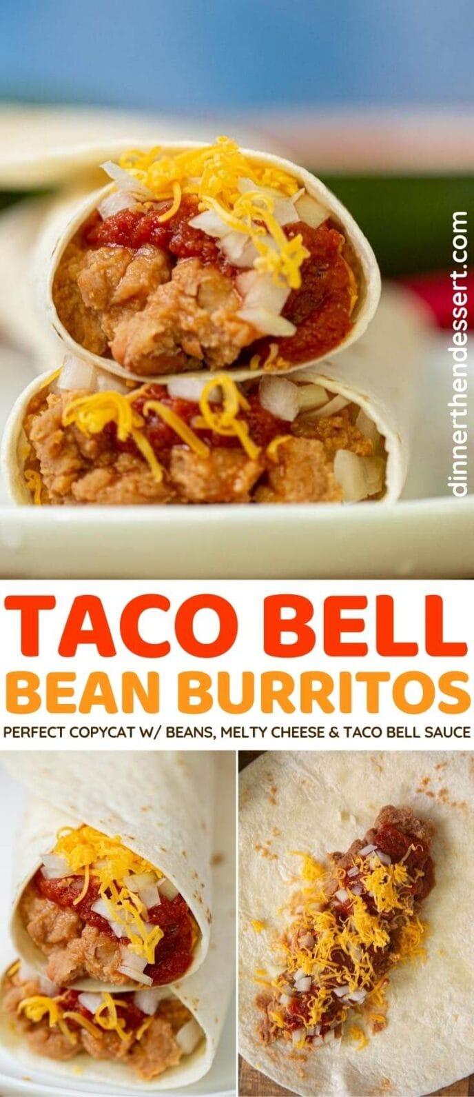 Taco Bell Bean Burrito collage