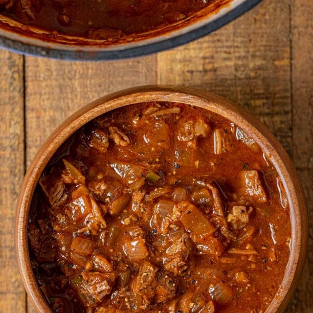 Texas Brisket Chili in bowl