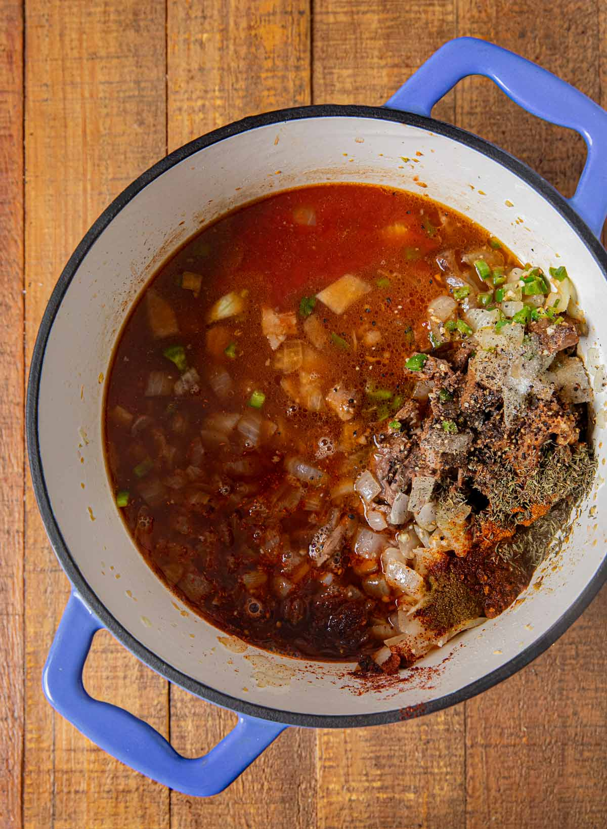 Texas Brisket Chili ingredients in pot