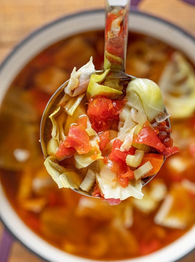 Weight Loss Cabbage Soup serving in ladle