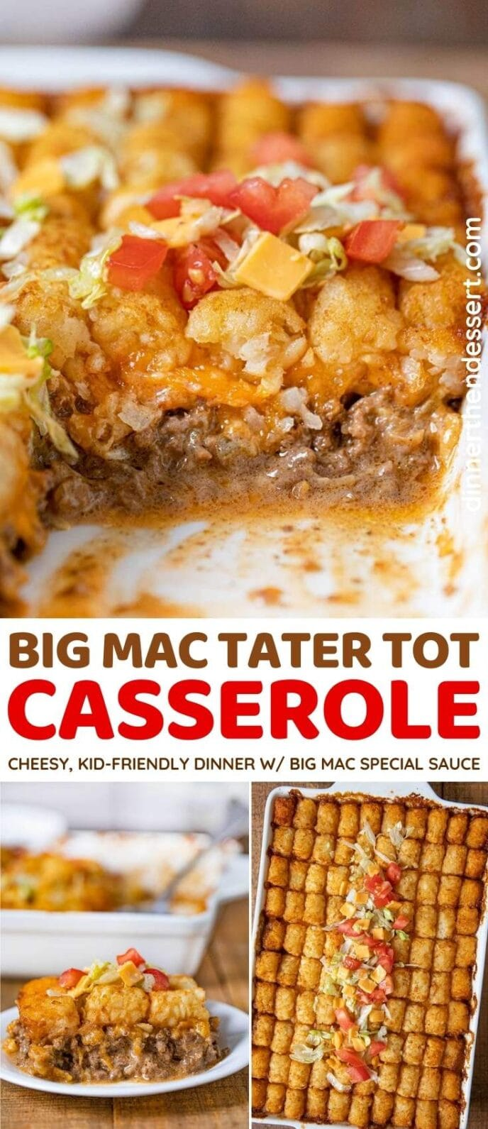 Big Mac Tater Tot Casserole collage