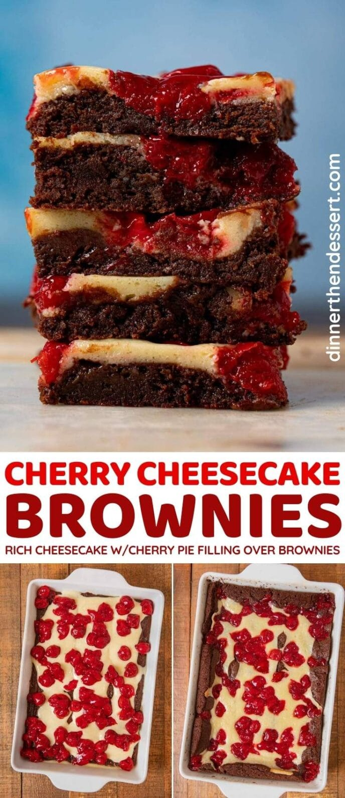 Cherry Cheesecake Brownies collage