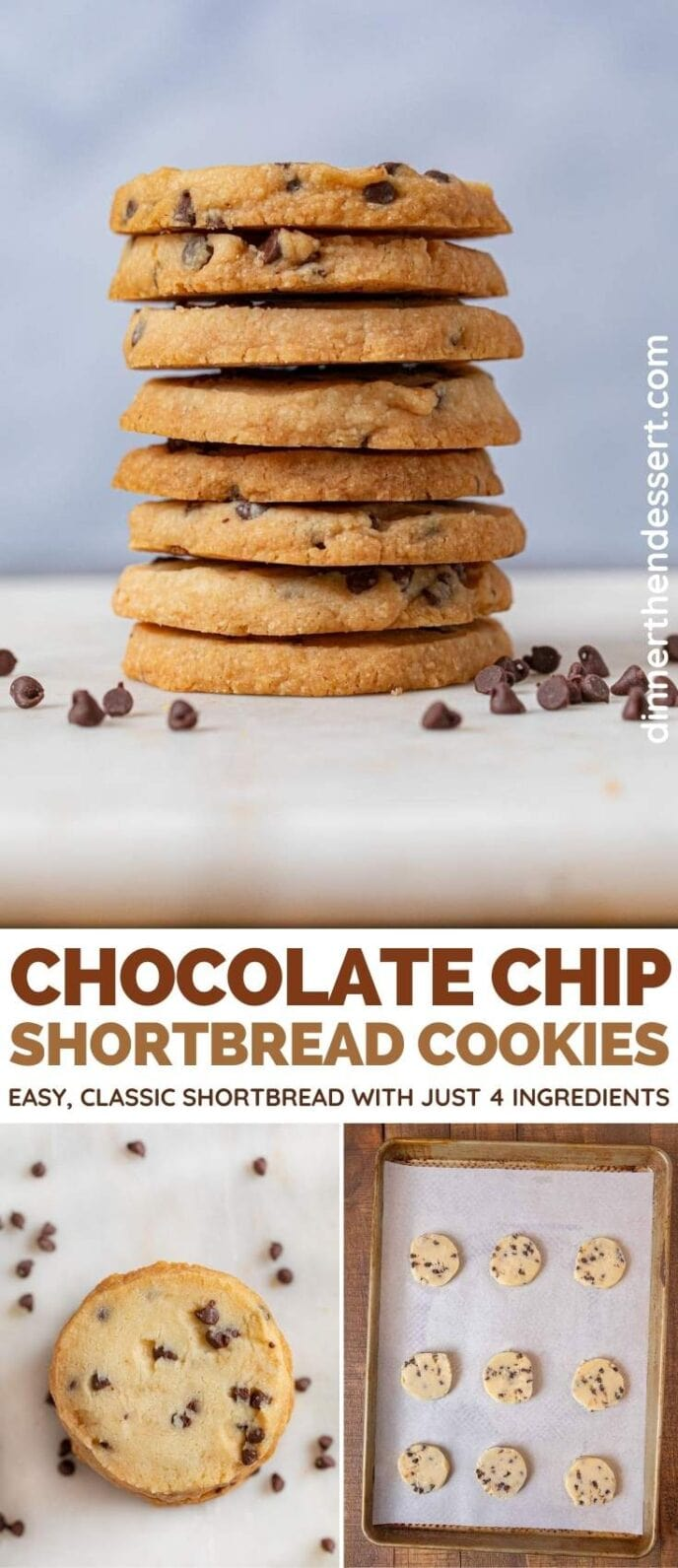 Chocolate Chip Shortbread Cookies collage