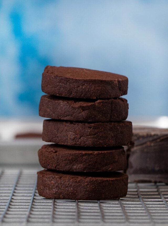 Chocolate Shortbread Cookies in stack