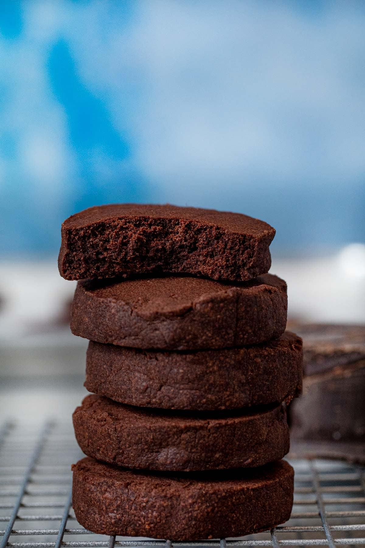 Chocolate Shortbread Cookie bitten in half