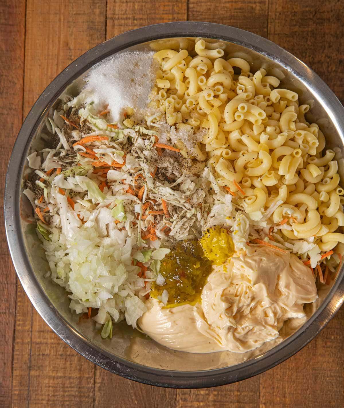 Coleslaw Macaroni Salad ingredients in bowl