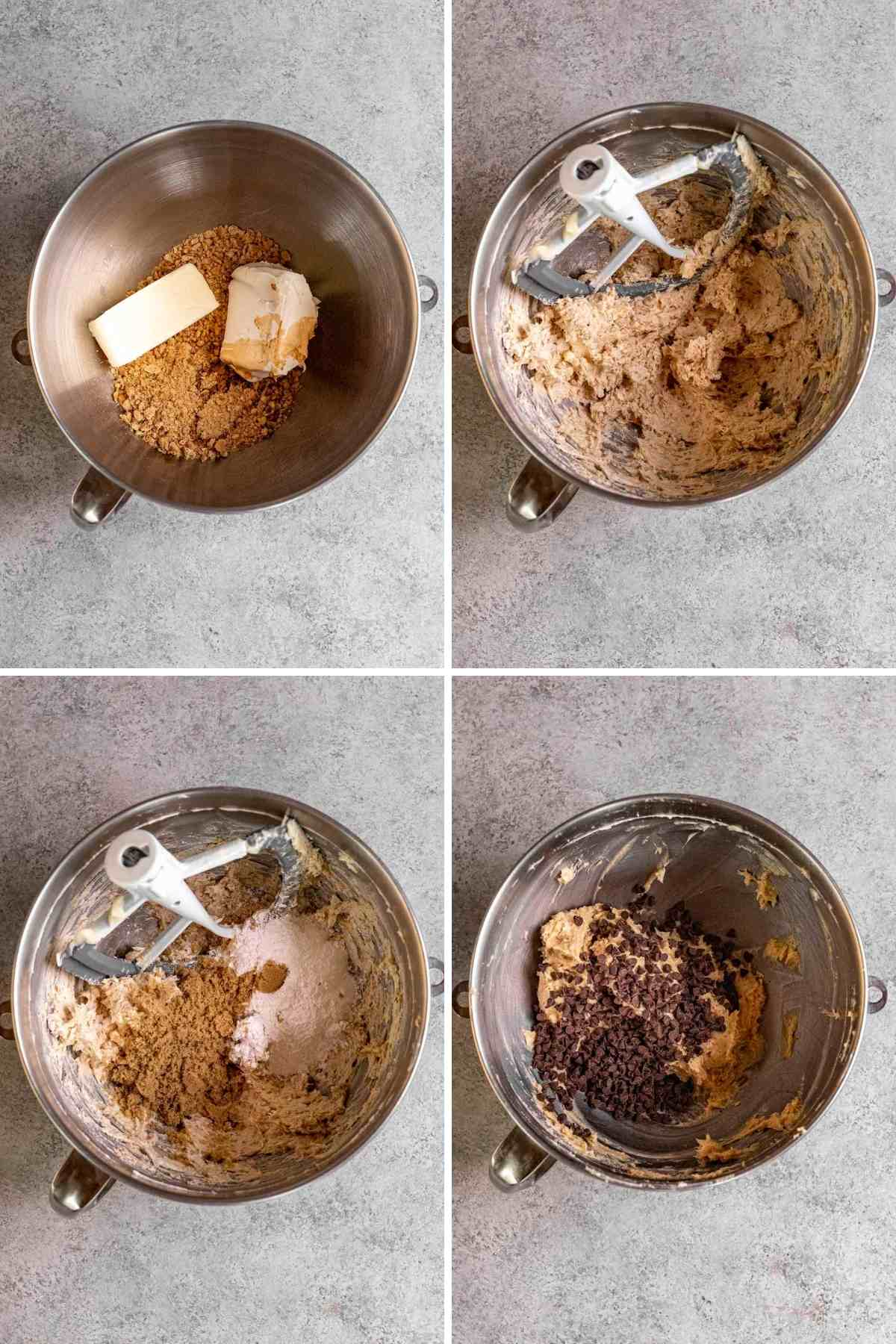 Collage of prep steps for Cookie Dough Cheese Ball