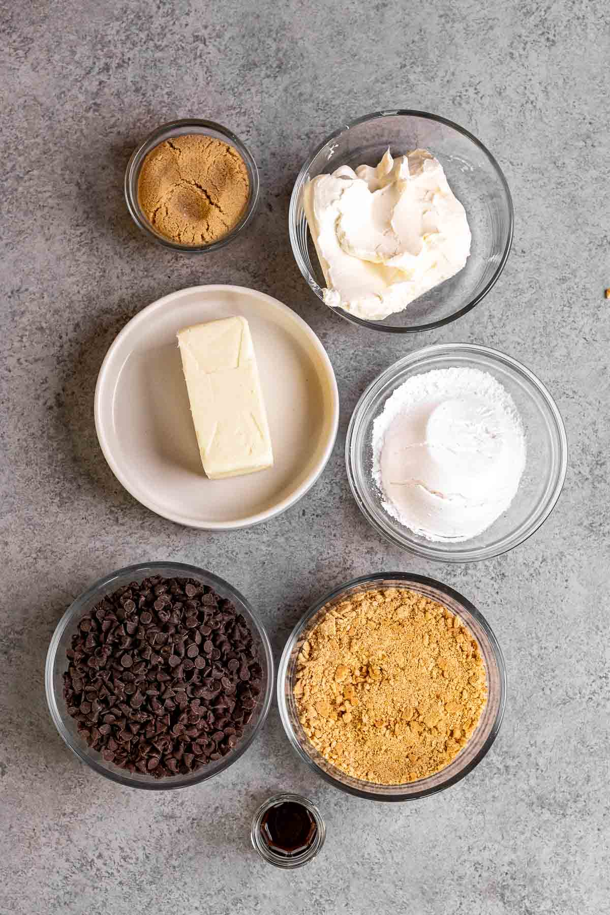 Ingredients for Cookie Dough Cheese Ball in prep bowls