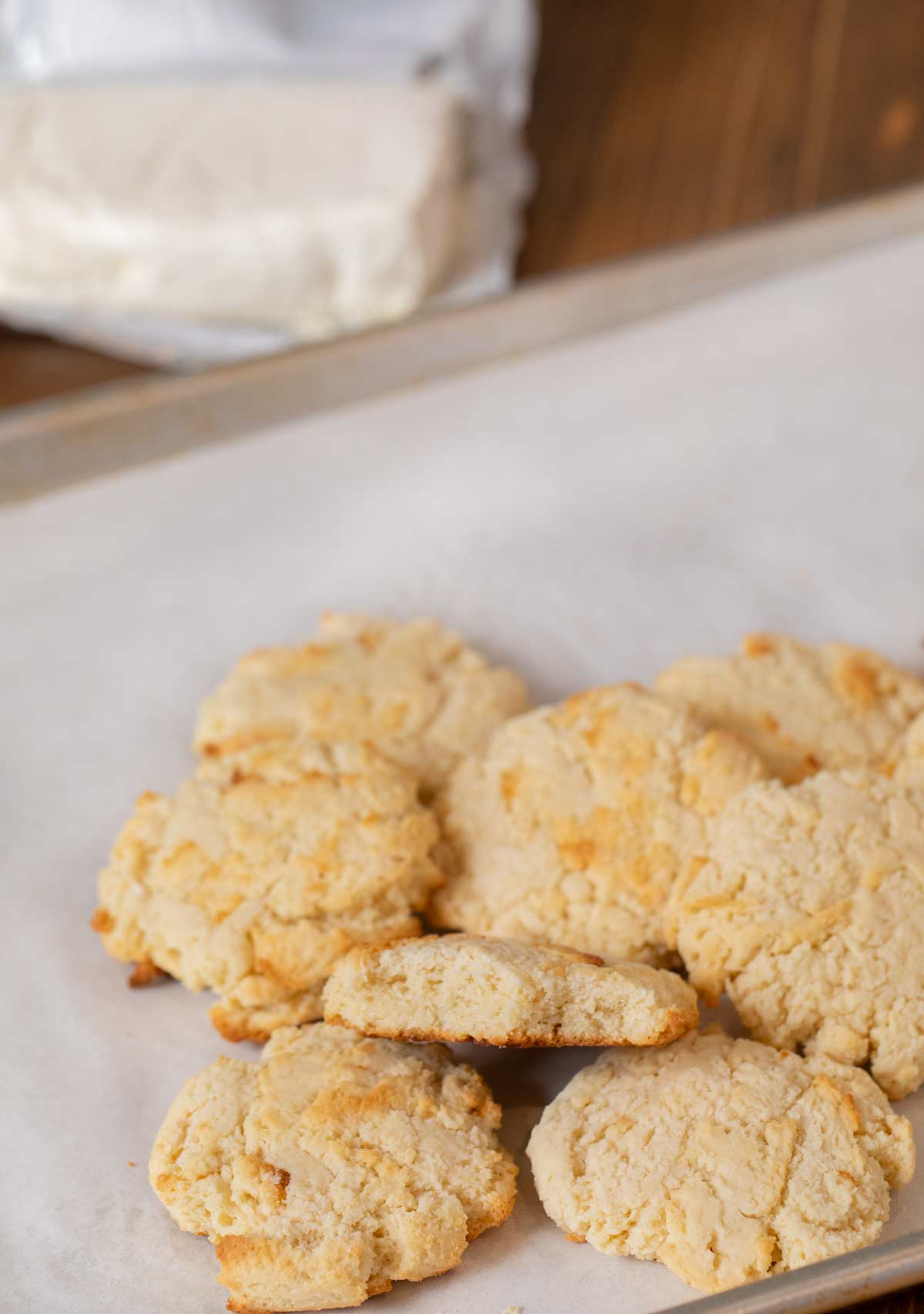 Cream Cheese Cookies in pile on cookie sheet
