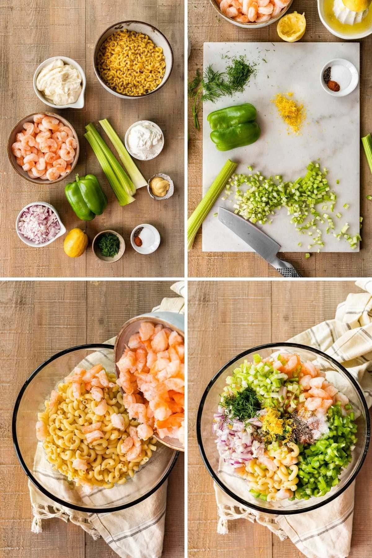 Creamy Shrimp Pasta Salad collage of prep steps