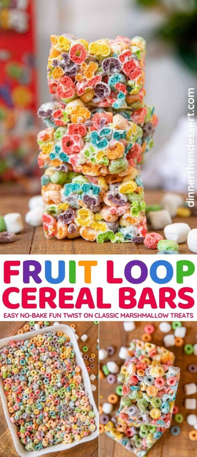 Fruit Loop Cereal Bars collage
