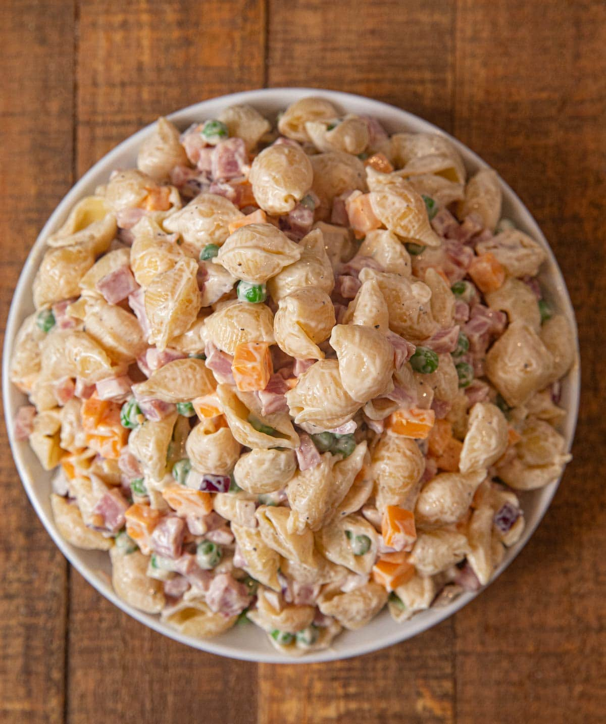 Ham and Cheese Pasta Salad in bowl
