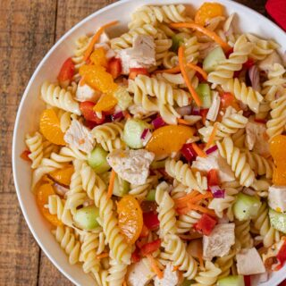 Mandarin Chicken Pasta Salad cropped in small white bowl