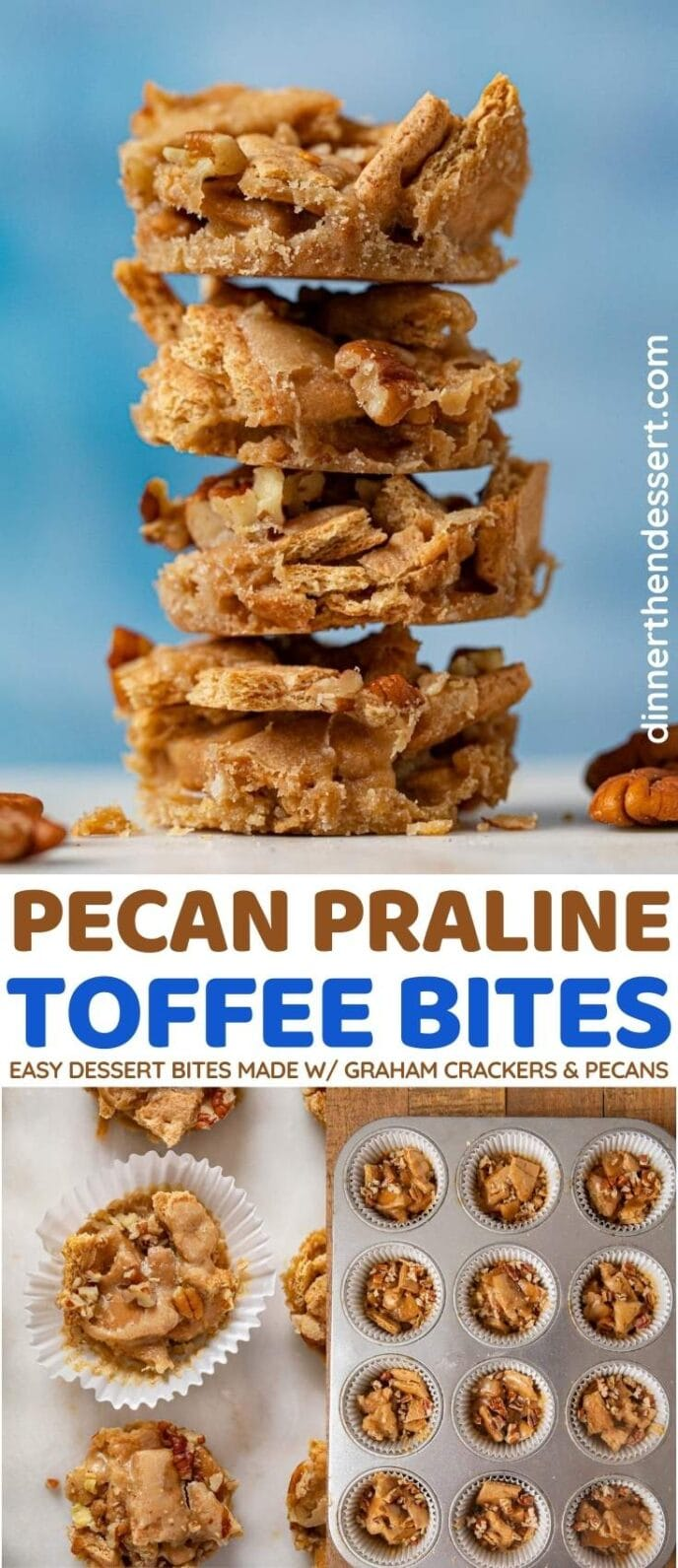 Pecan Praline Toffee Bites collage