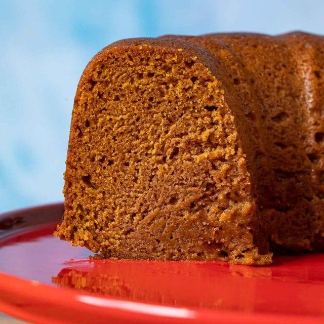 Pumpkin Bundt Cake on cake stand up close
