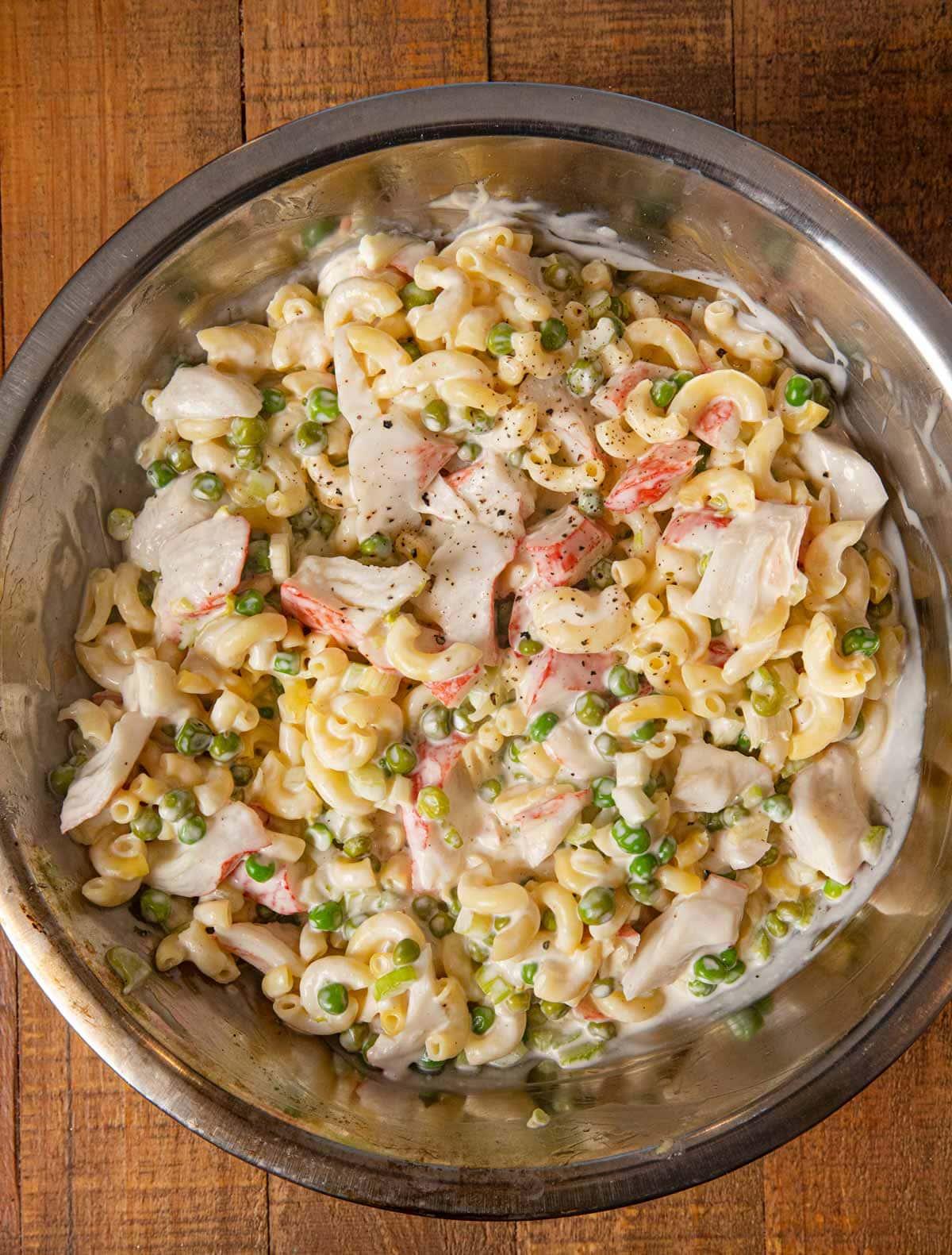 Seafood Pasta Salad in mixing bowl