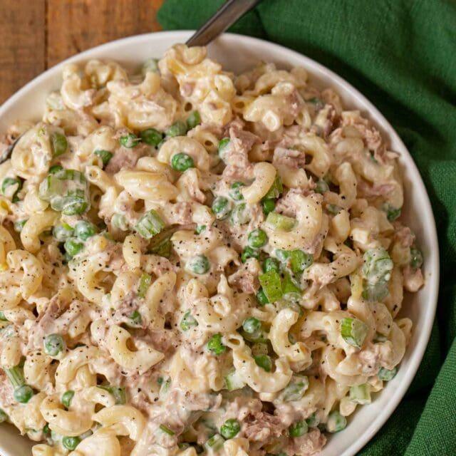 Tuna Pasta Salad in white bowl