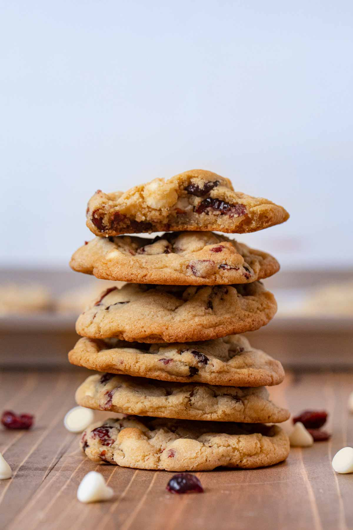 White Chocolate Cranberry Cookies in stack