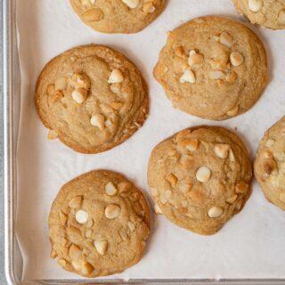 White Chocolate Macadamia Chip Cookies on baking sheet