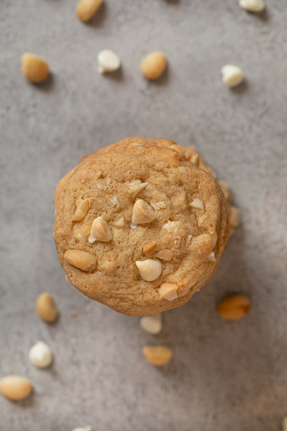 top-down view of White Chocolate Macadamia Chip Cookies in stack