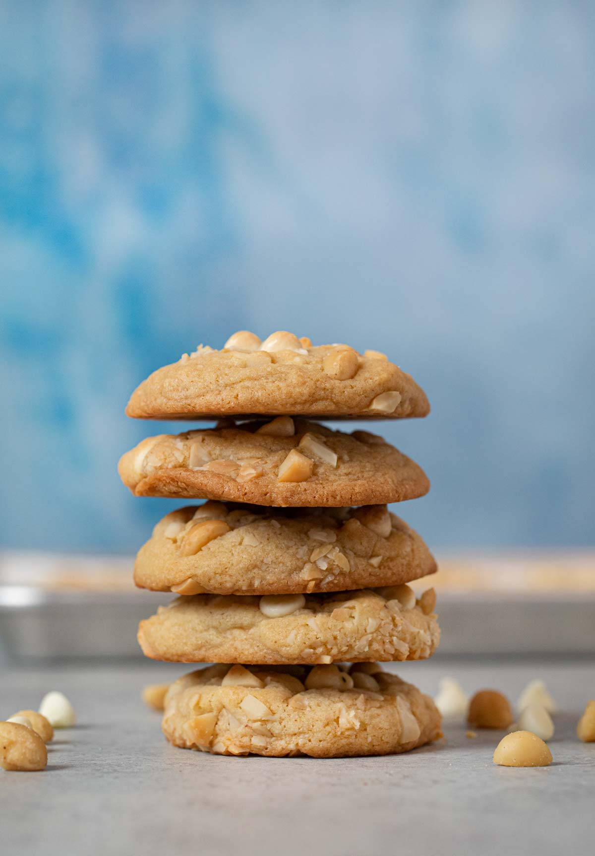 White Chocolate Macadamia Chip Cookies in stack