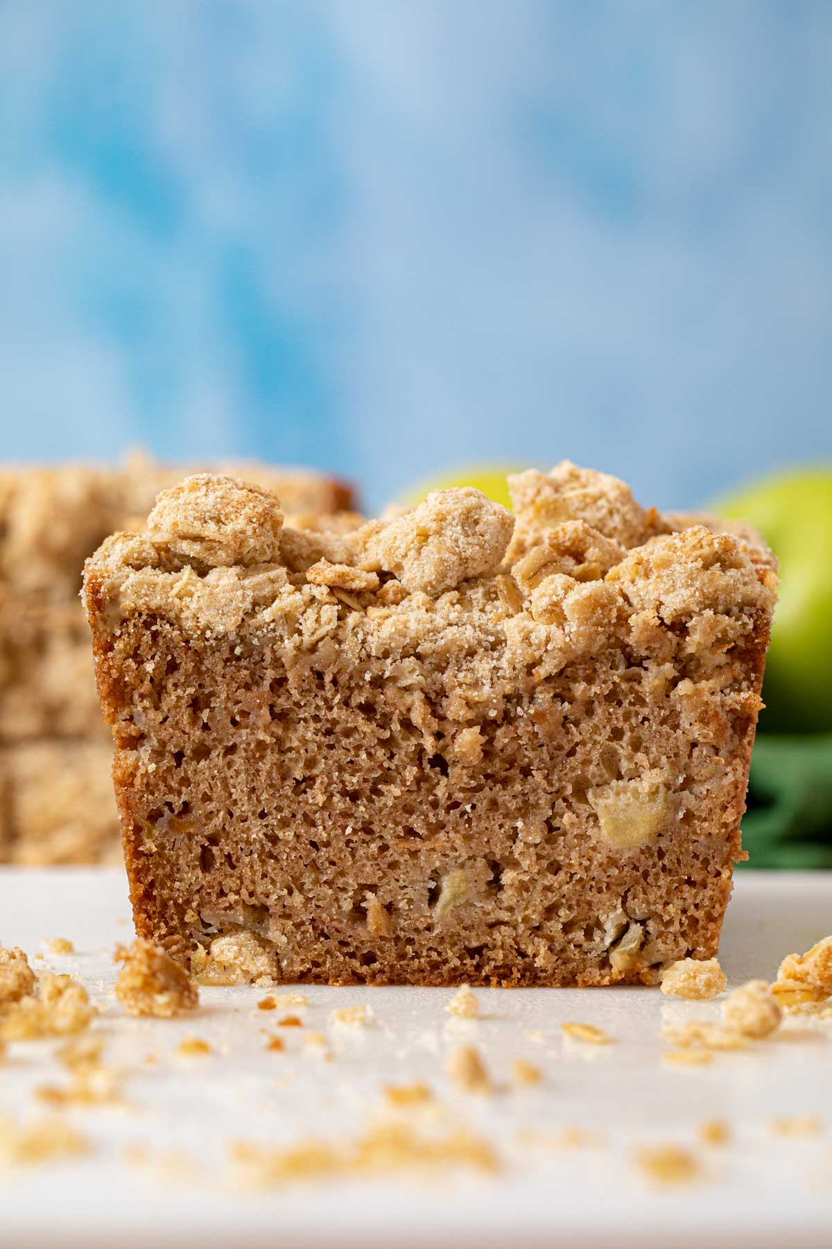 Apple Crisp Bread loaf cross-section on cutting board