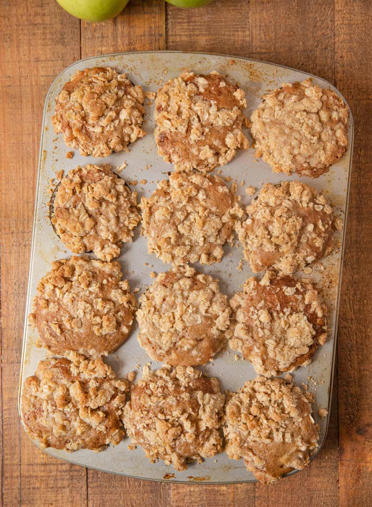Apple Crisp Muffins in cupcake tin