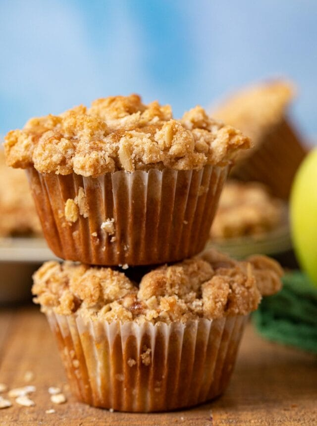 Apple Crisp Muffins in stack