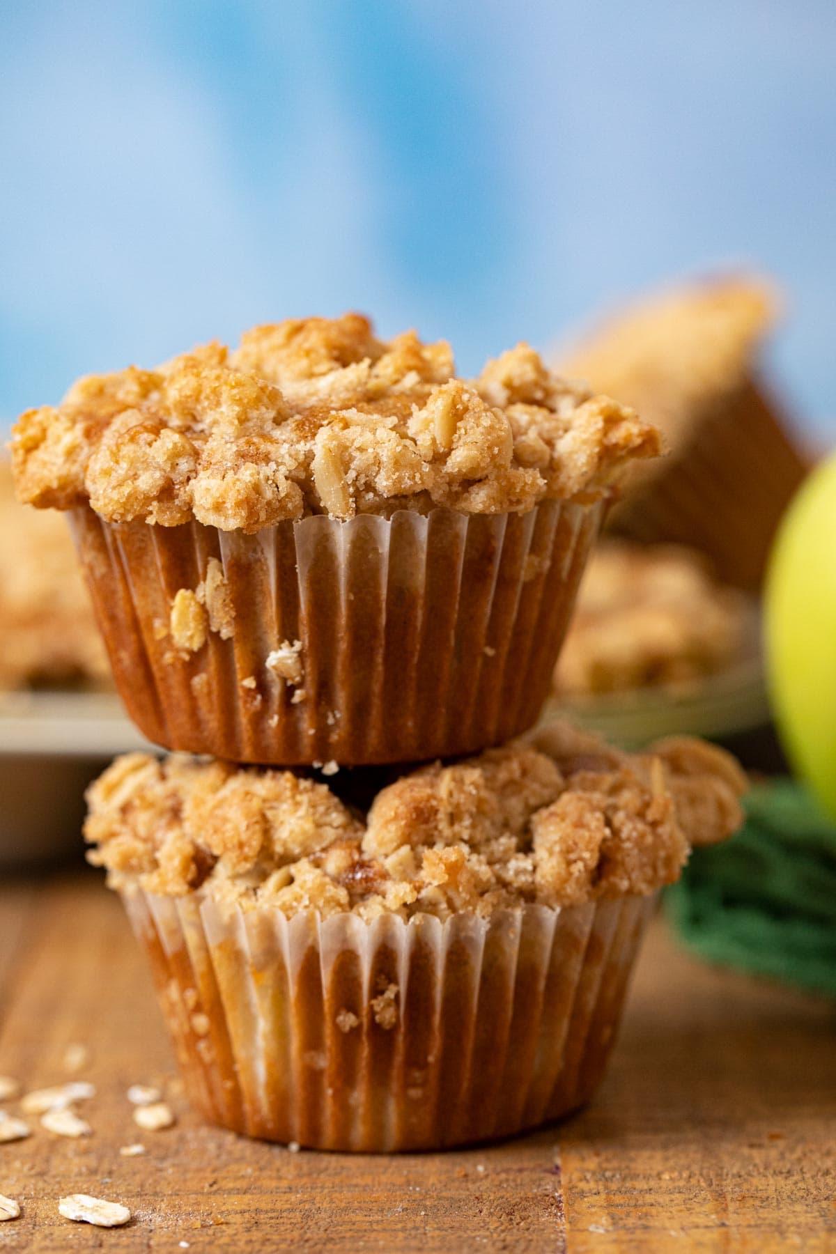 Apple Crisp Muffins in stack