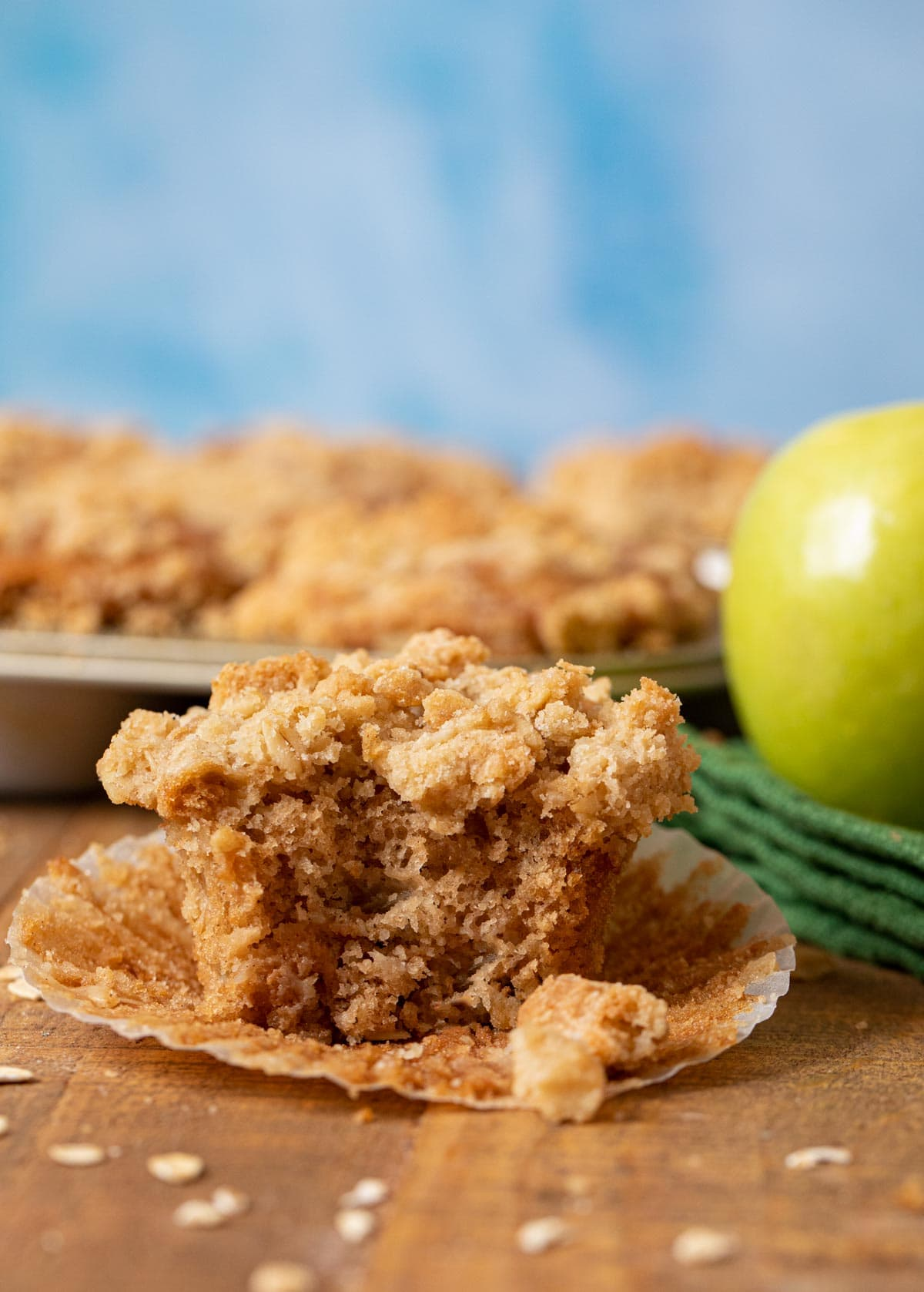 Apple Crisp Muffin with bite removed