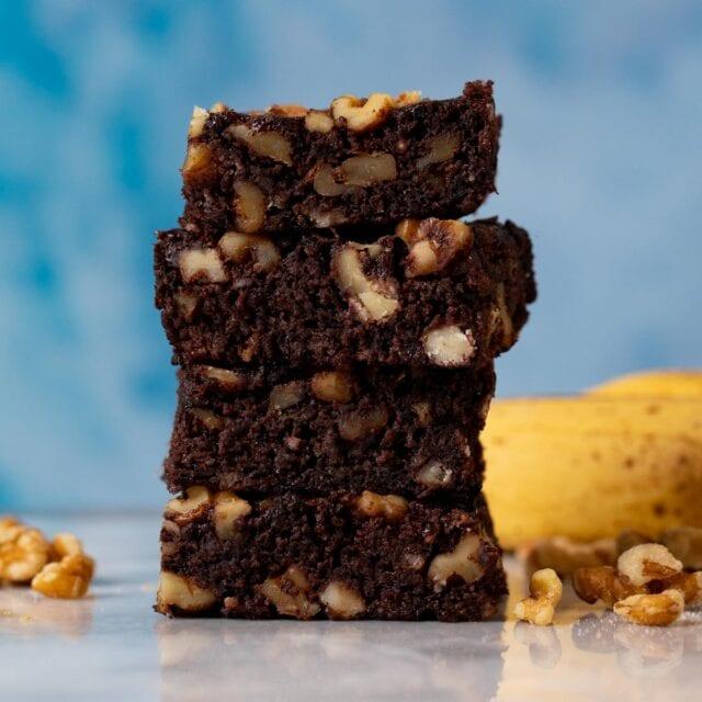 Banana Nut Brownies in stack