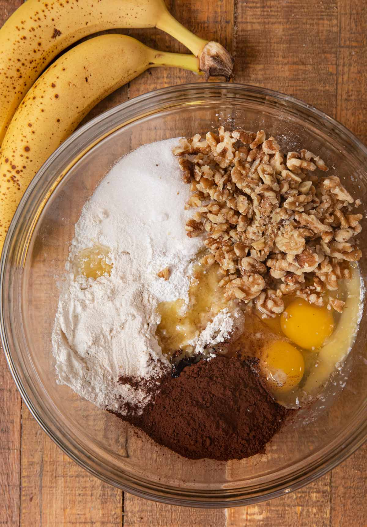 Banana Nut Brownies ingredients in bowl