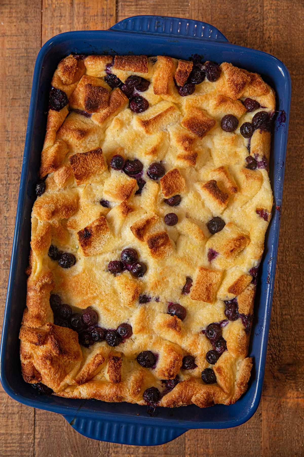 Blueberry Bread Pudding in baking dish