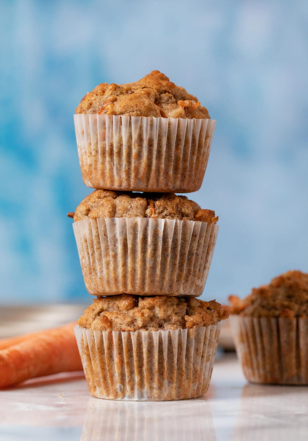Carrot Muffins in stack