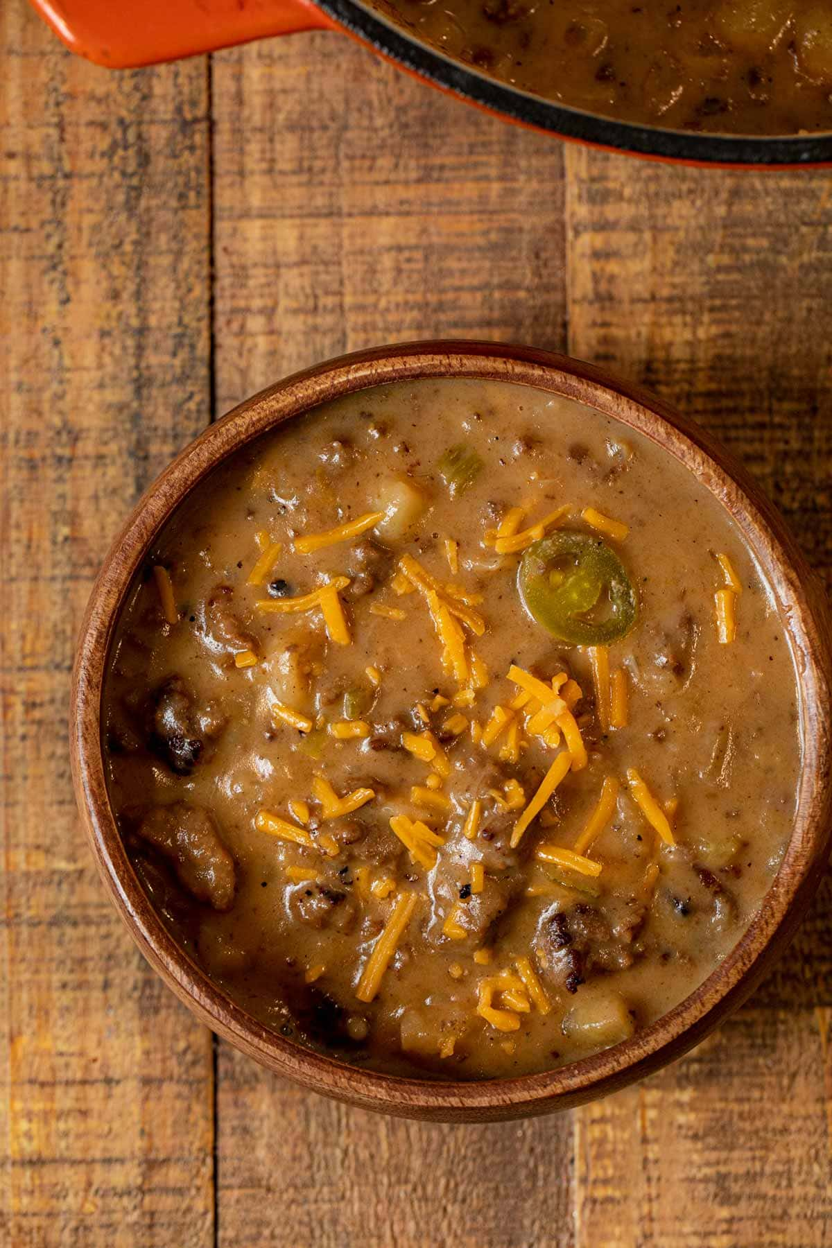 Cheesy Bratwurst Soup in bowl