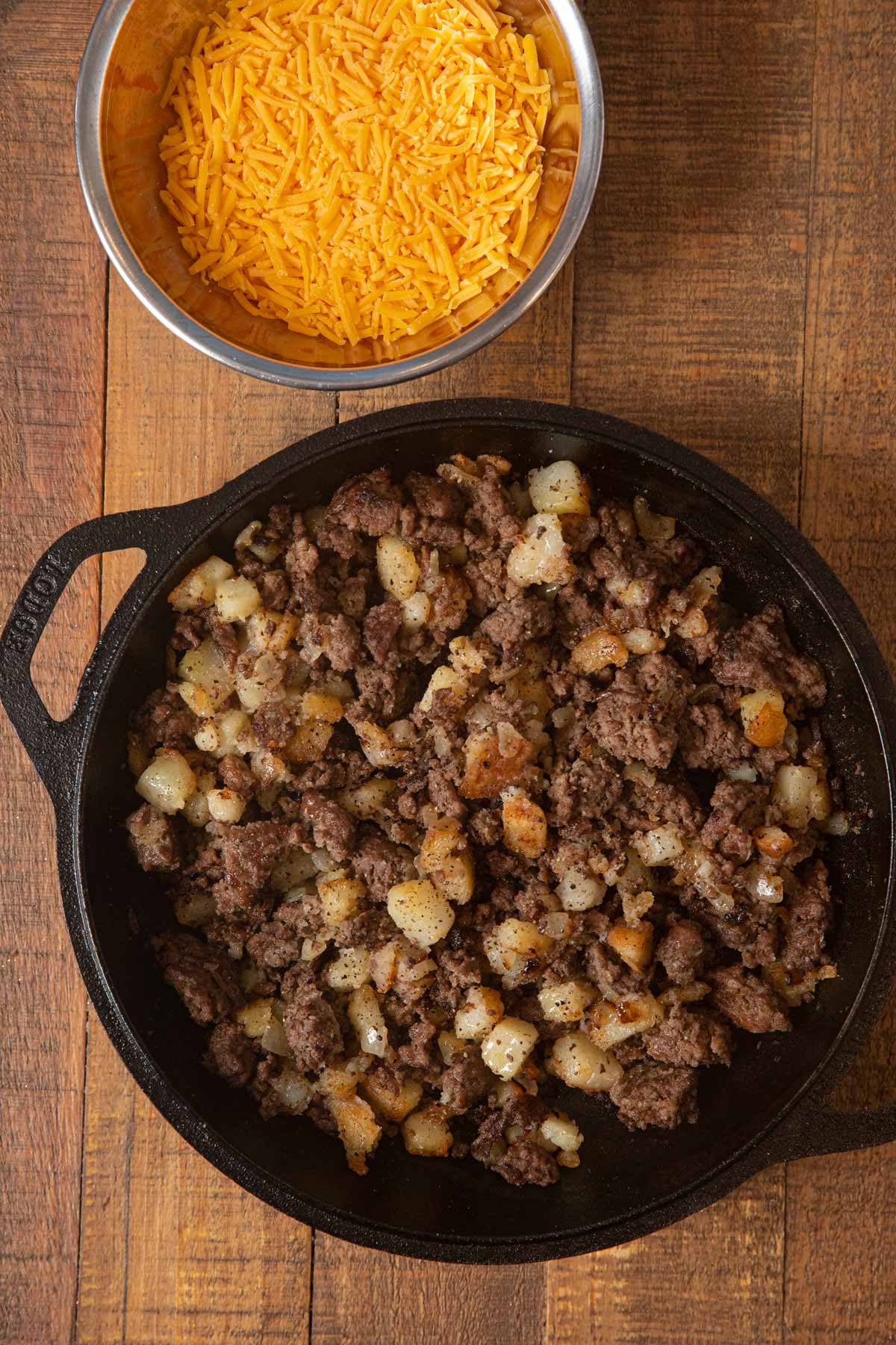 Cheesy Hamburger Hash in skillet without cheese topping