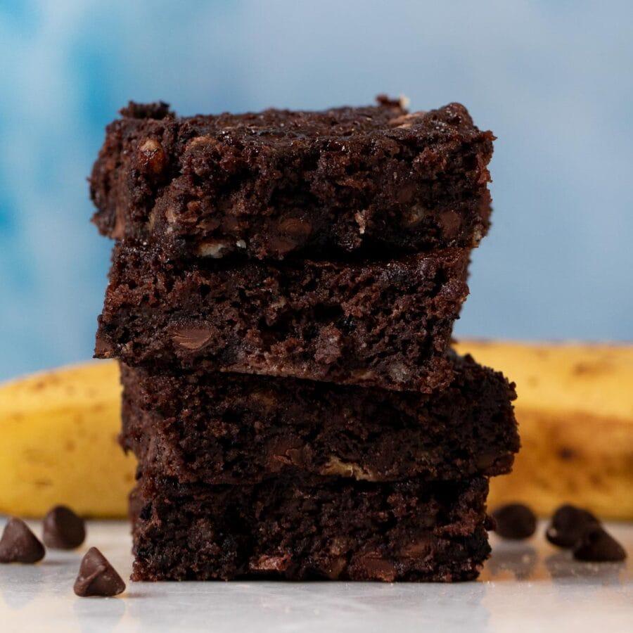 Chocolate Banana Brownies in stack