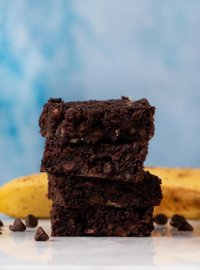 Chocolate Banana Brownies in stack