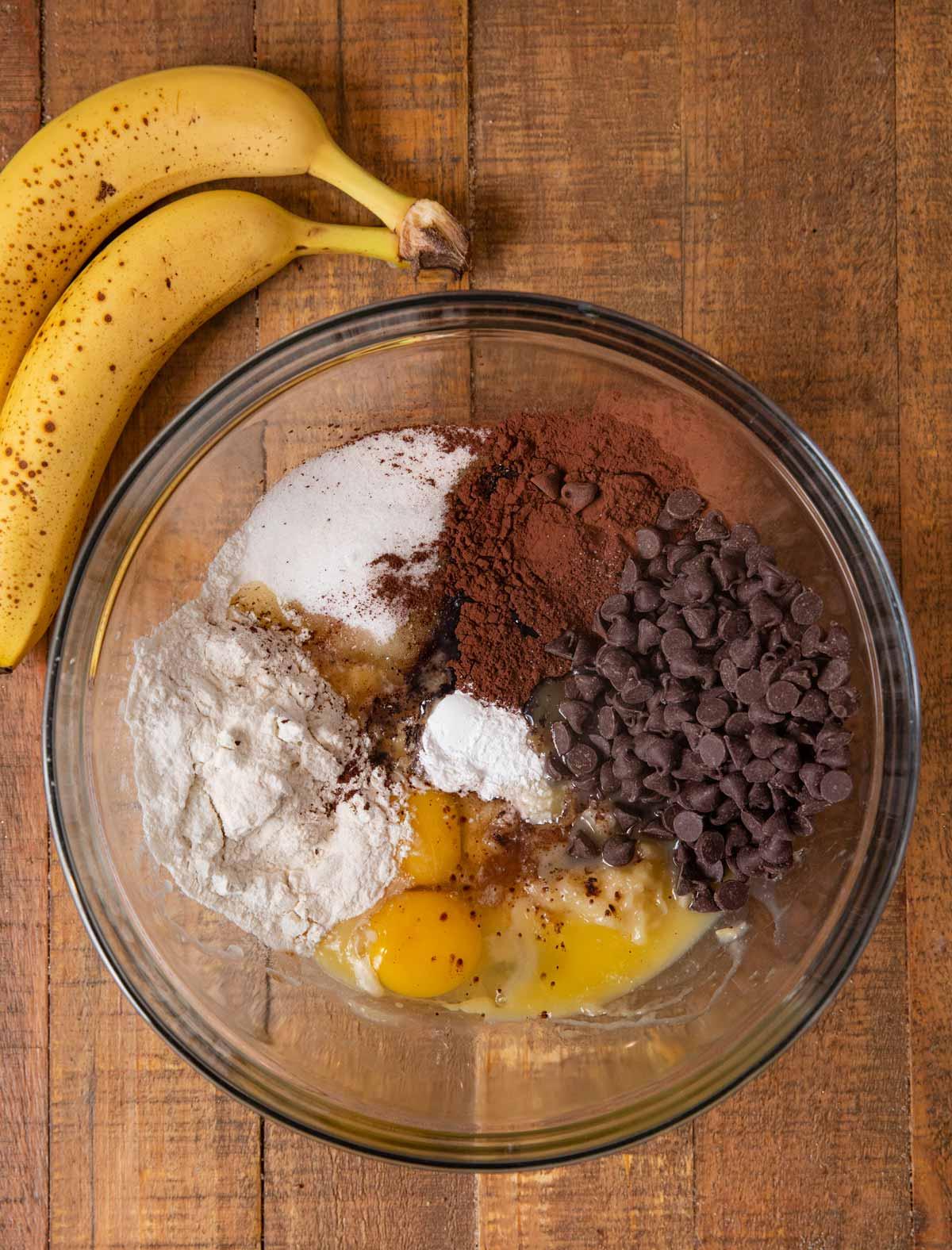 Chocolate Banana Brownies ingredients in bowl