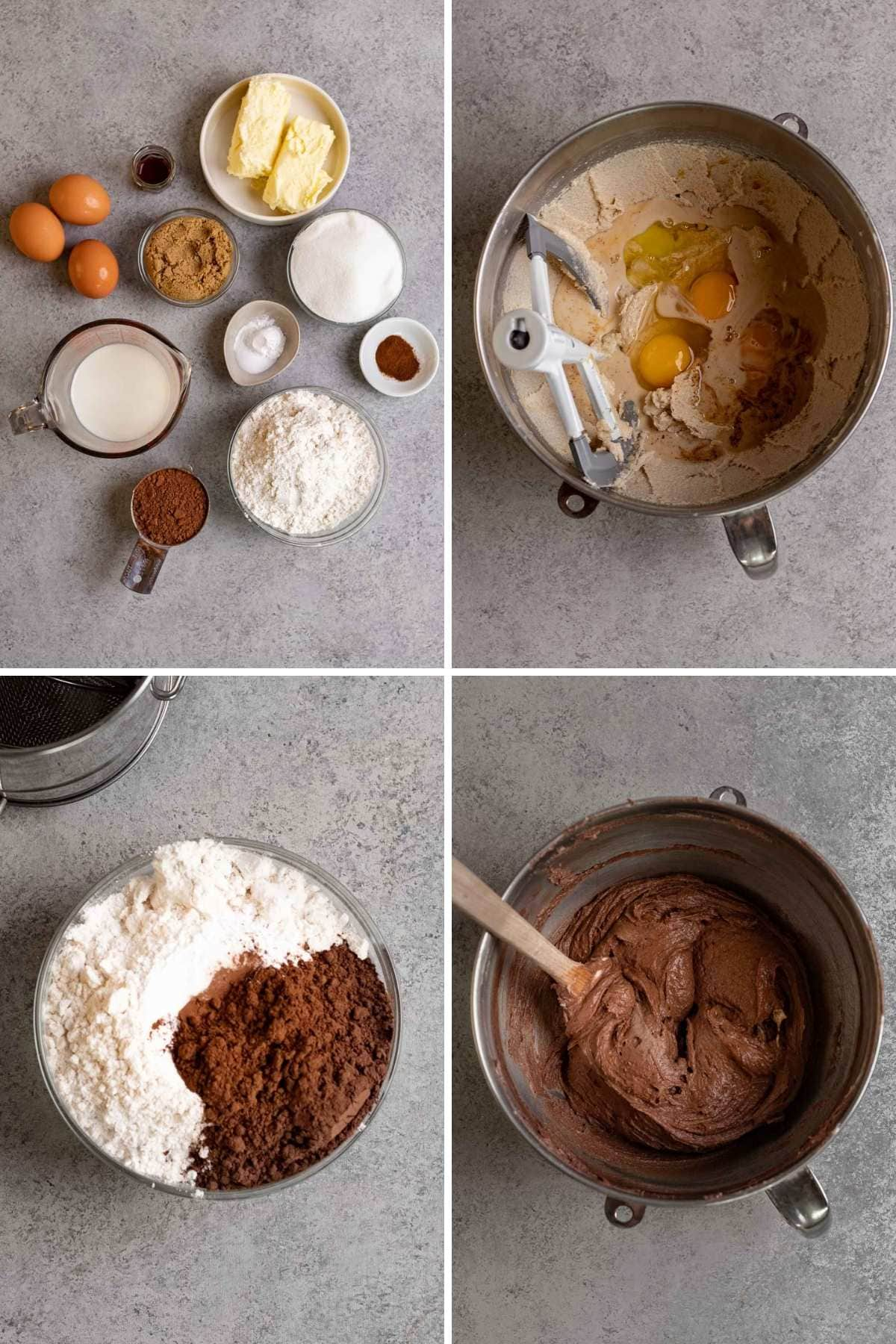 Collage of prep steps for Wet ingredients in mixing bowl with paddle attachment for Chocolate Pound Cake