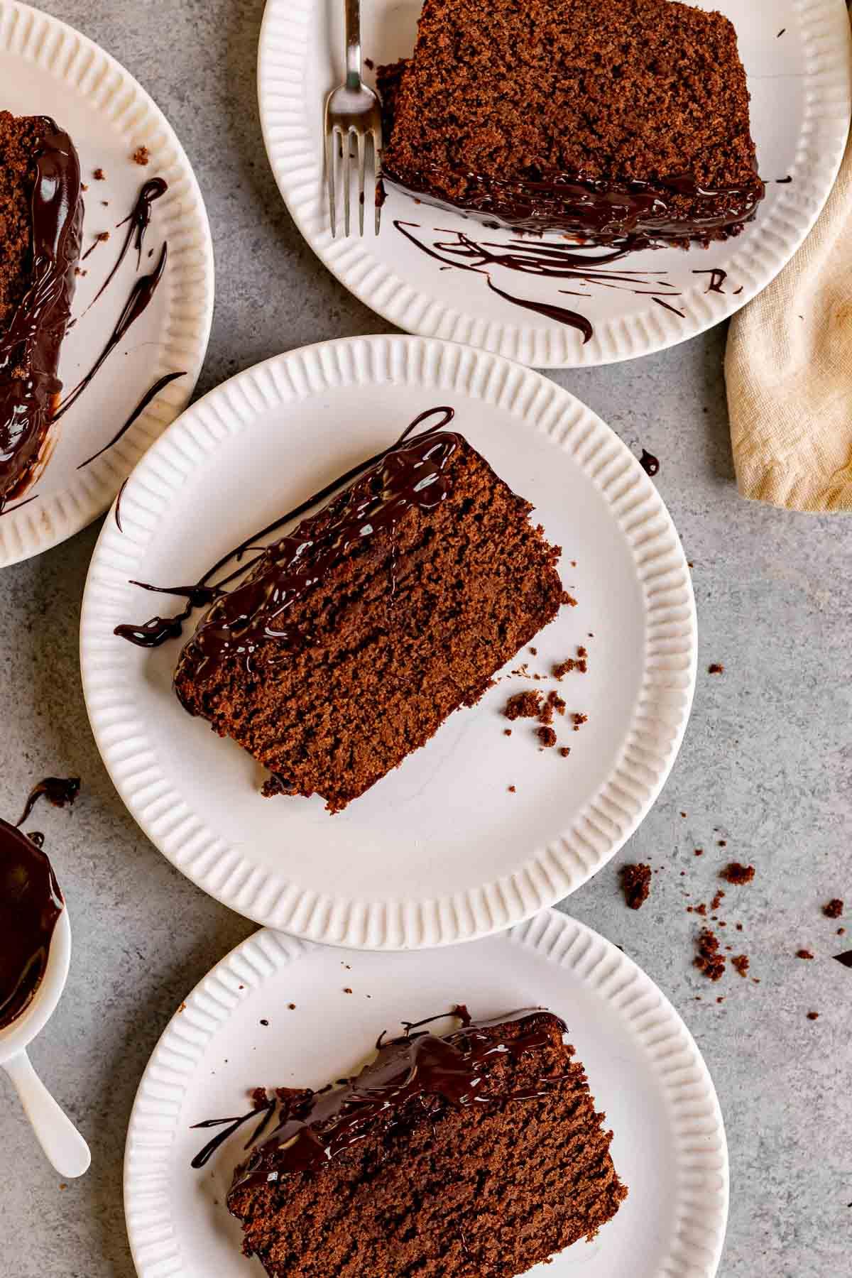 Chocolate Pound Cake slice on plate
