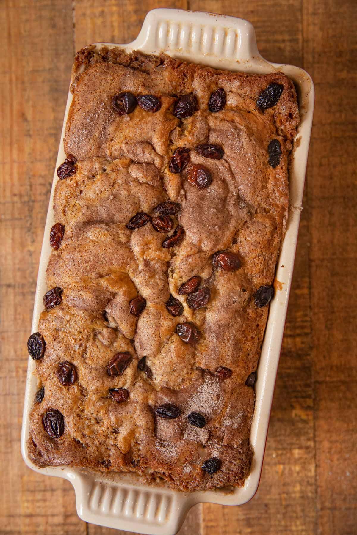 Cinnamon Raisin Bread in loaf pan